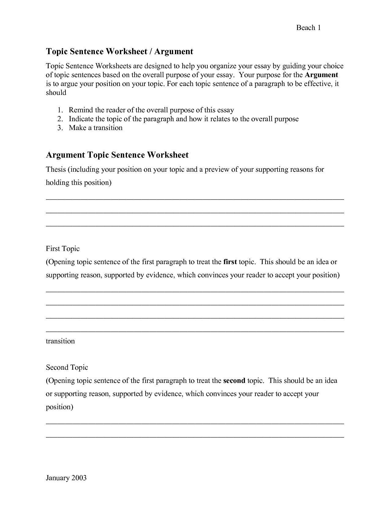 Topic Sentences Worksheets 3rd Grade In