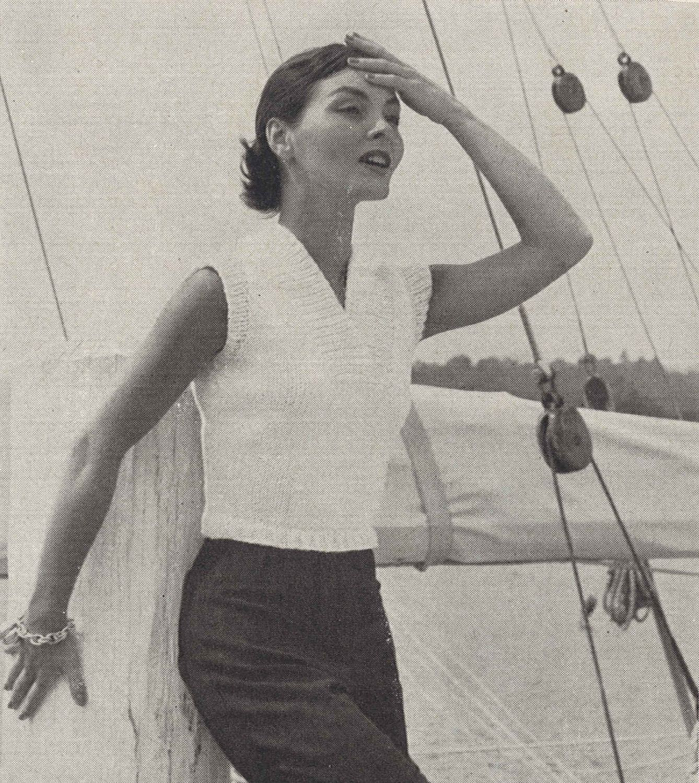 Sailing Blouse • 1950s Knitting Beach White Top Blouse • 50s Vintage ...