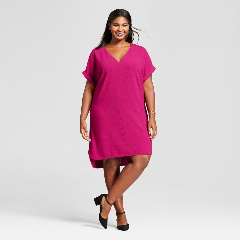Womenus plus size short sleeve crepe dress a new day magenta x