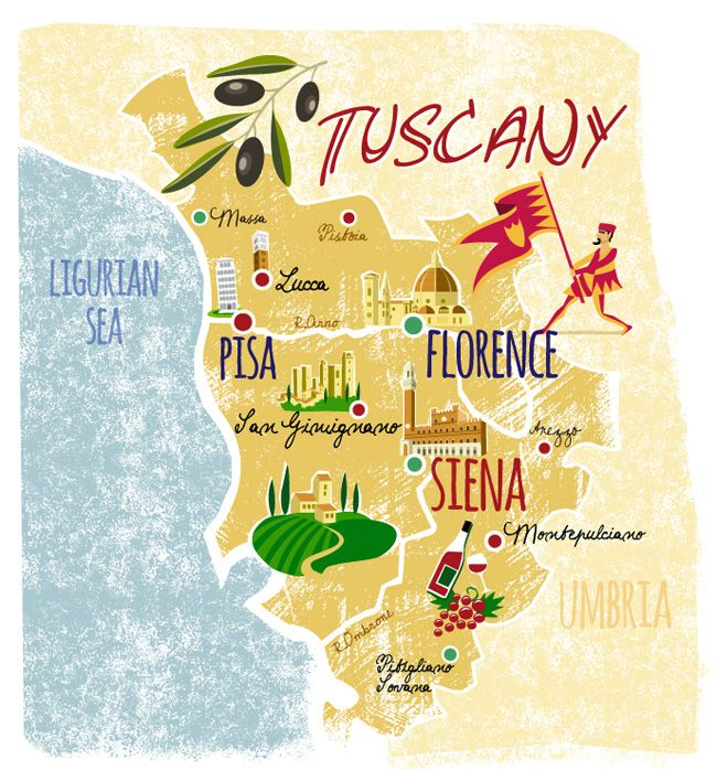 Carte Italie Lucca.Tuscany Illustrated Map Tuscany In 2019 Tuscany Map