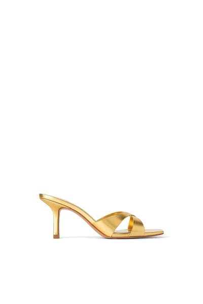 Heeled mules, Gold mules, Cross straps