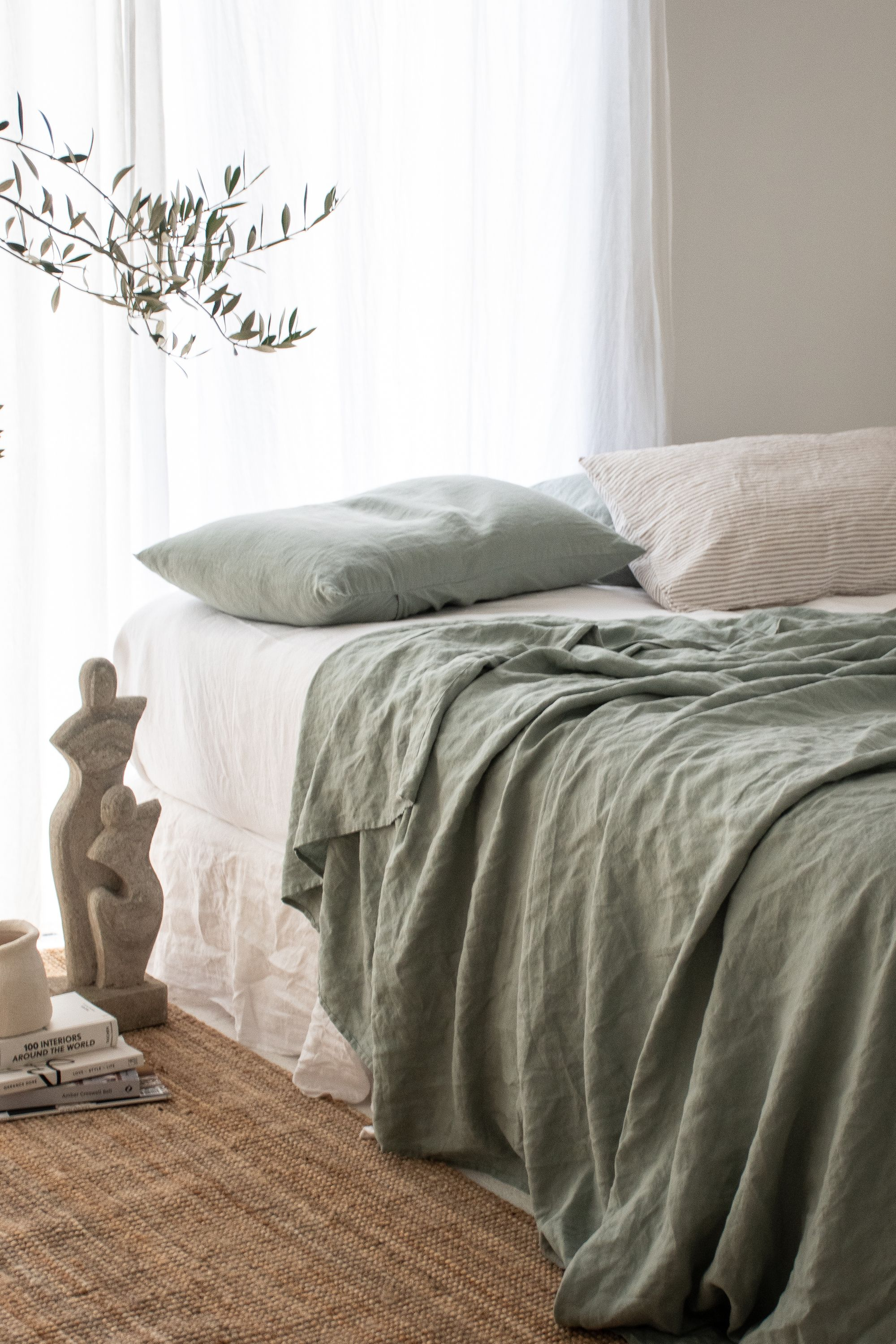 Pure French Linen Sheets & Bedding -   16 sage green aesthetic ideas