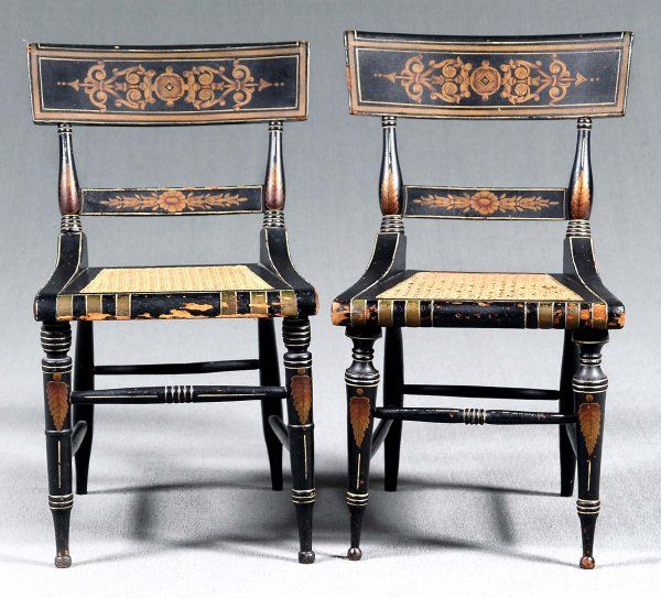 Antique furniture - Typical Baltimore Fancy Painted Black And Gilt Chairs, Circa 1820