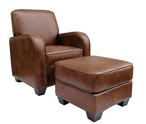Terrific Ravenna Home Club Faux Leather Accent Chair And Ottoman 29 Pabps2019 Chair Design Images Pabps2019Com