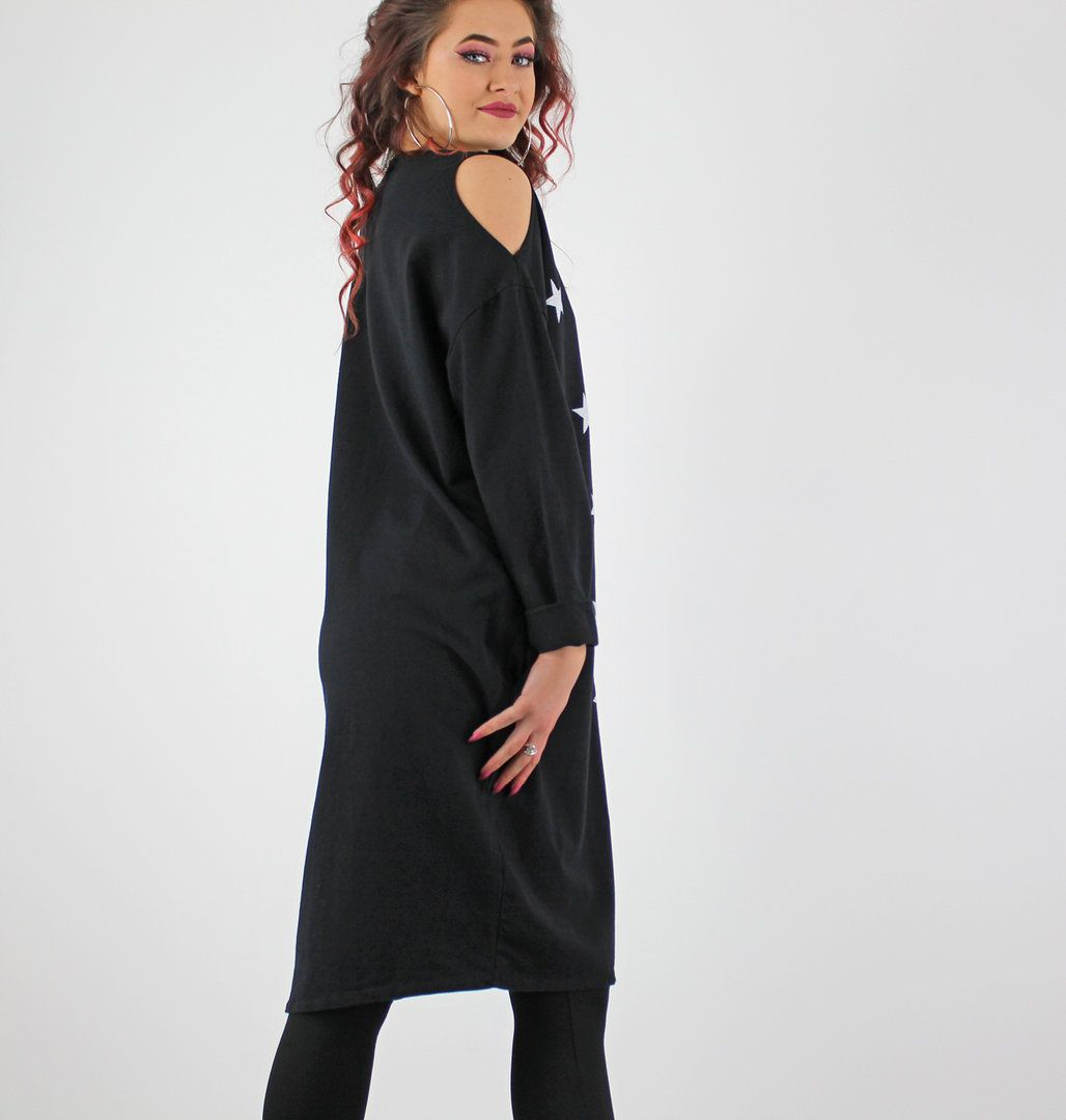 Black With White Stars Cut Out Shoulder Long Sleeve Jersey Dress