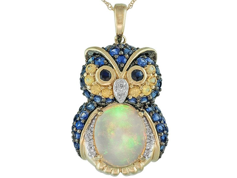 269ctw ethiopian opal blue and yellow sapphire diamond accent extremeley cute and decadent ethiopian opal blue and yellow sapphire diamond accent gold owl pendant with chain mozeypictures Choice Image