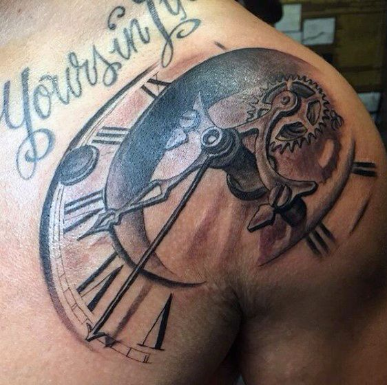 Shoulder tattoo clock designs men tattoo pinterest for Tattoo ideas men shoulder