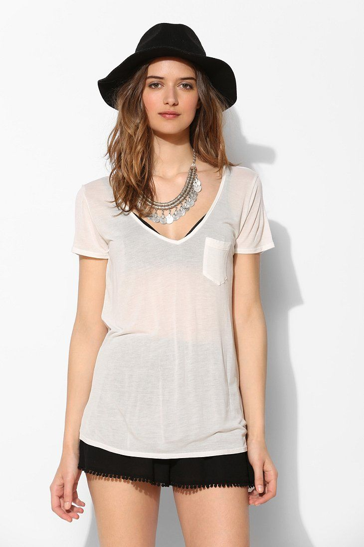 Project Social T Sheer V-Neck Tee - Urban Outfitters