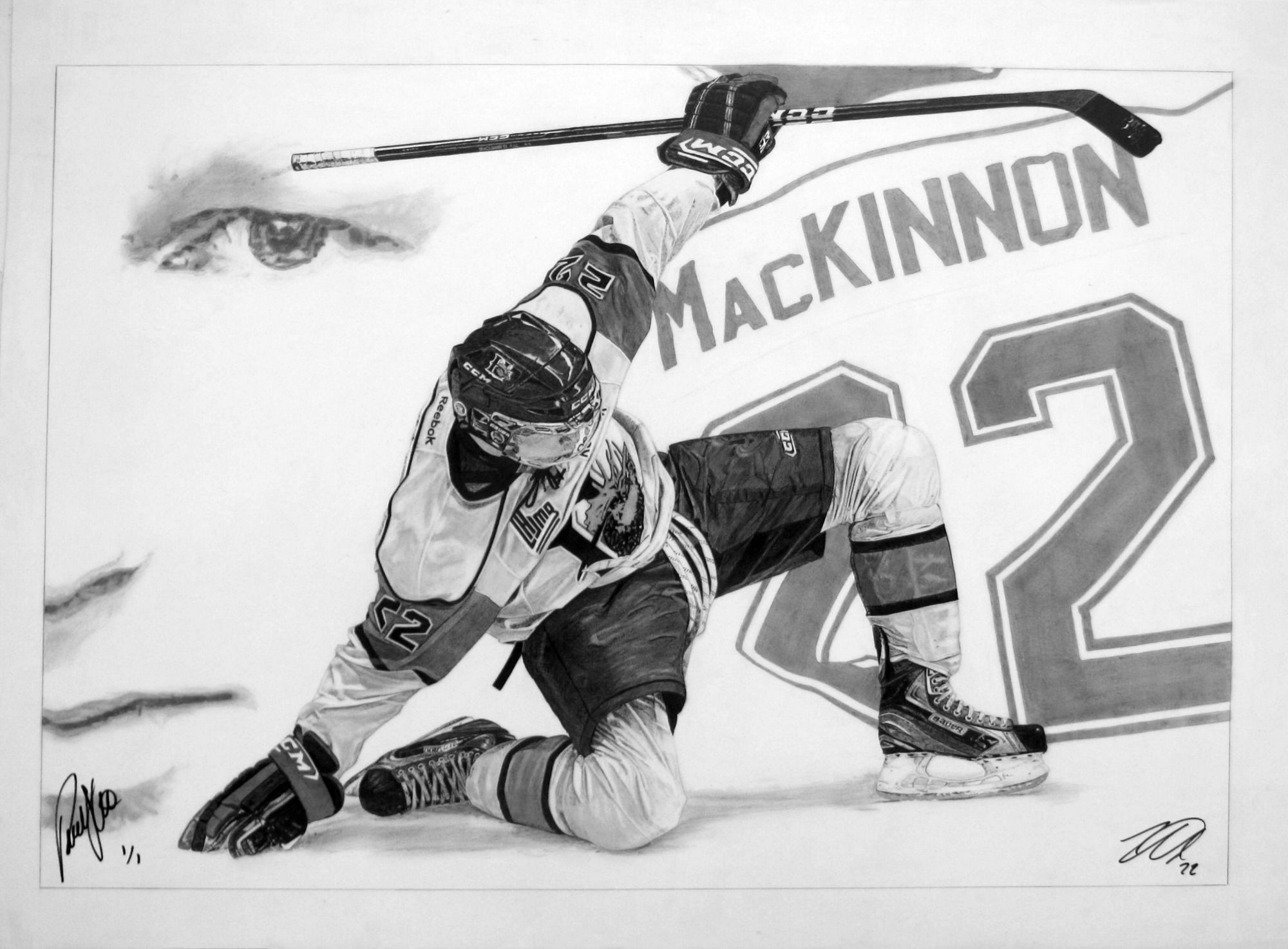 Pencil Drawing By Robb Scott Autographed By Halifax Mooseheads Star Nathan Mackinnon And Artist Robb Scott Sports Drawings Pencil Drawings Sports Art