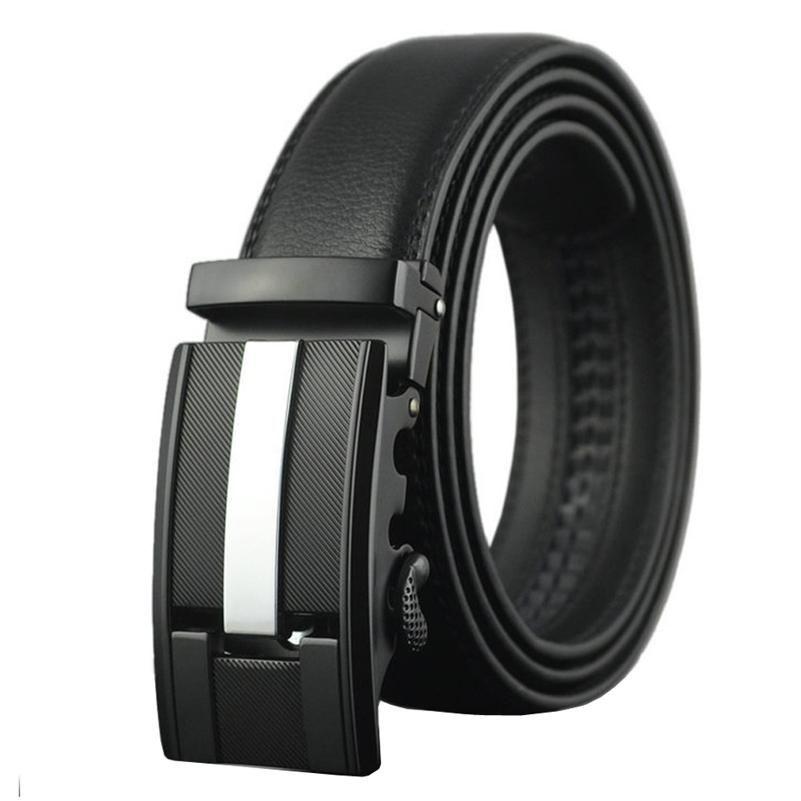a7acea3c1bc0 2018 Fashion Men s Leather Belt Automatic Buckle Big 130 140 150cm Black -  US  13.18