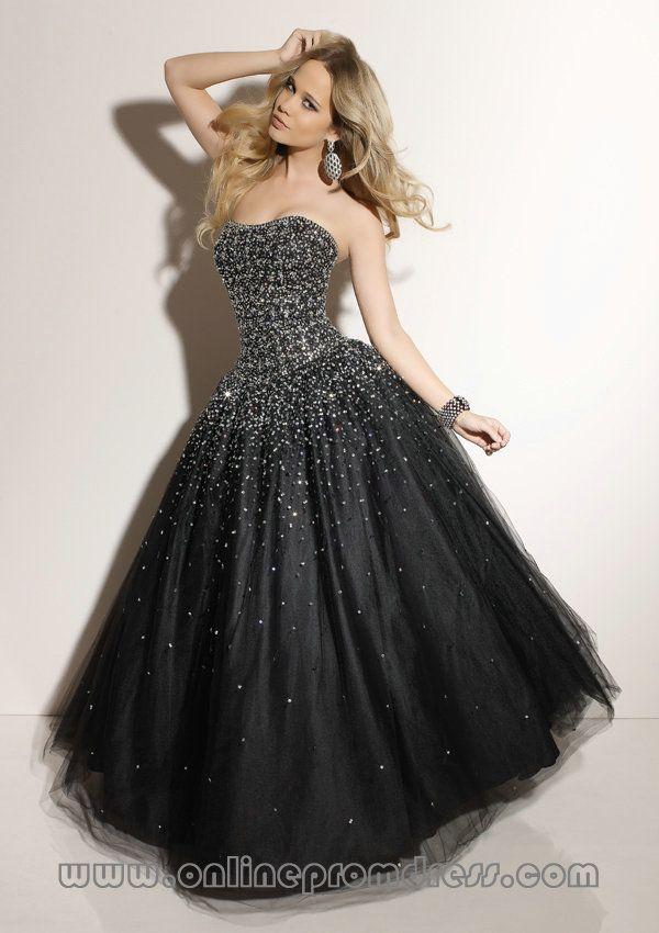 Sweetheart Tulle Beaded Puffy Graceful Black Prom Dresses New York