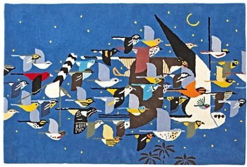 Charley Harper Flock of Birds rug.  See the entire Charley Harper collection from Land of Nod.