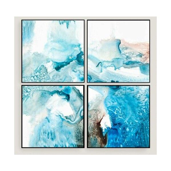 Cost Plus World Market Abstract Blues Wall Art Set of Four ($250 ...