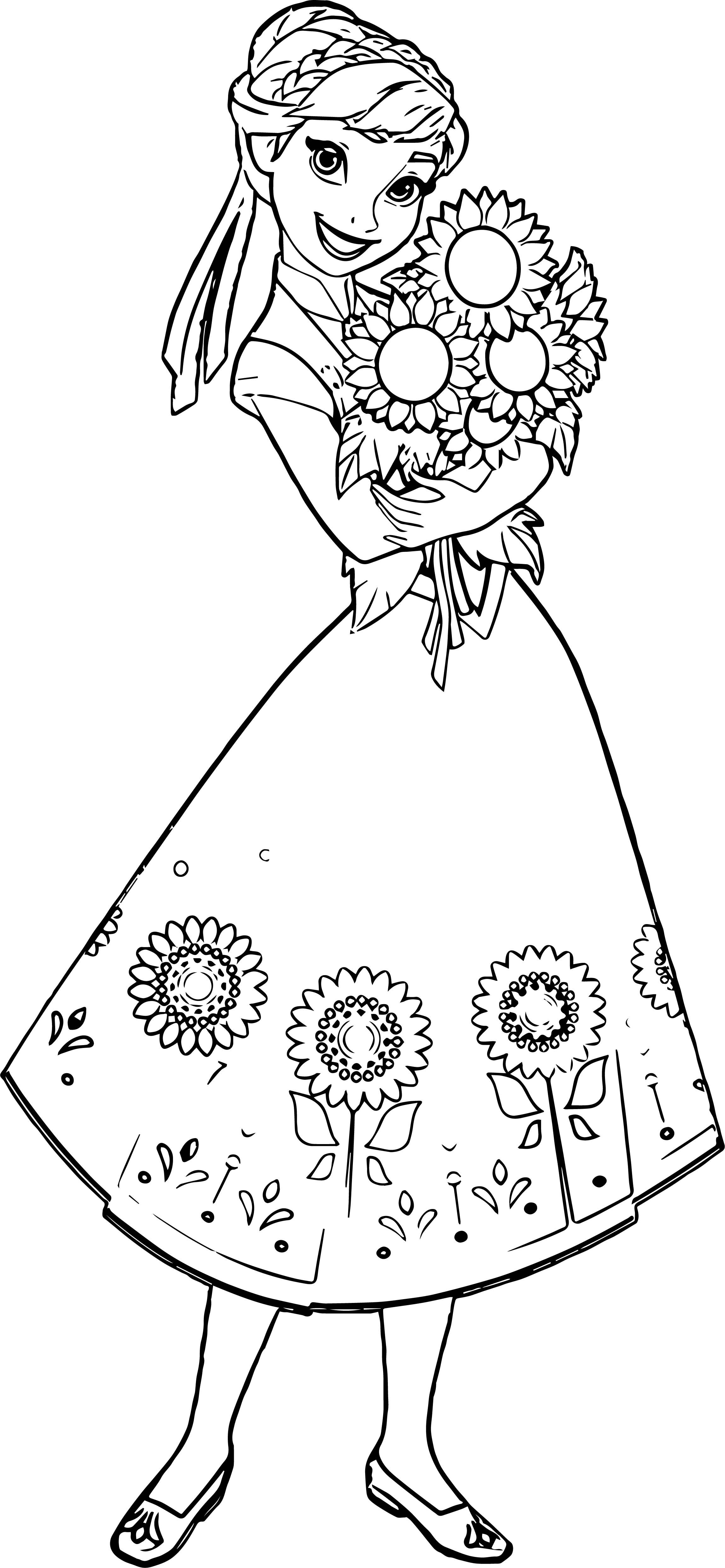 Fever Anna Sunflowers Coloring Page Elsa Coloring Pages Disney Princess Coloring Pages Sunflower Coloring Pages