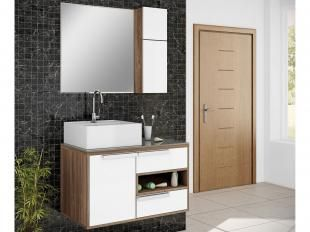 Gabinete para Banheiro com Cuba 1 Porta - 2 Gavetas 2 Peças - Itatiaia Luna