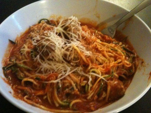 Low carb meatballs and spaghetti zucchini noodles for Zucchini noodles and meatballs recipe