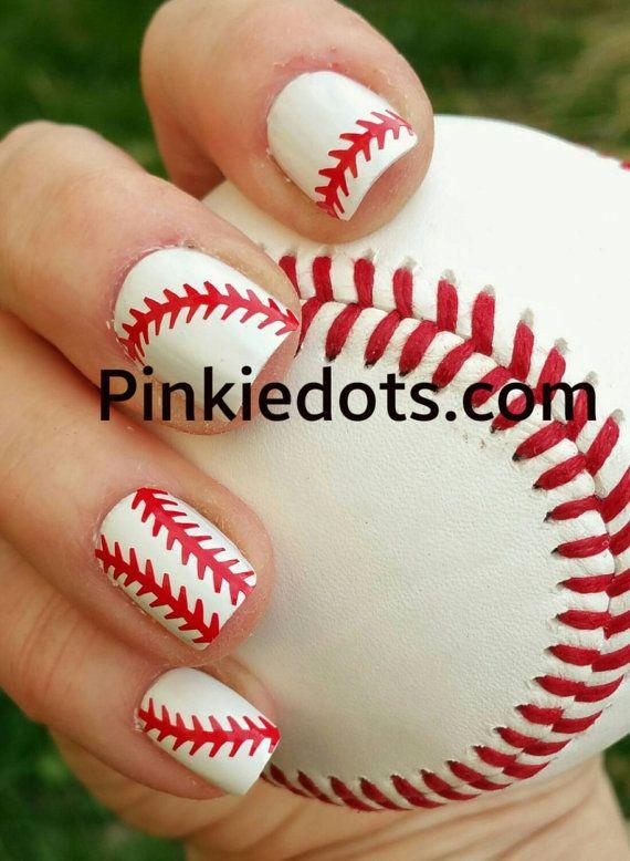 Baseball Or Softball Nail Decals Baseball Decal By Pinkiedots Mani