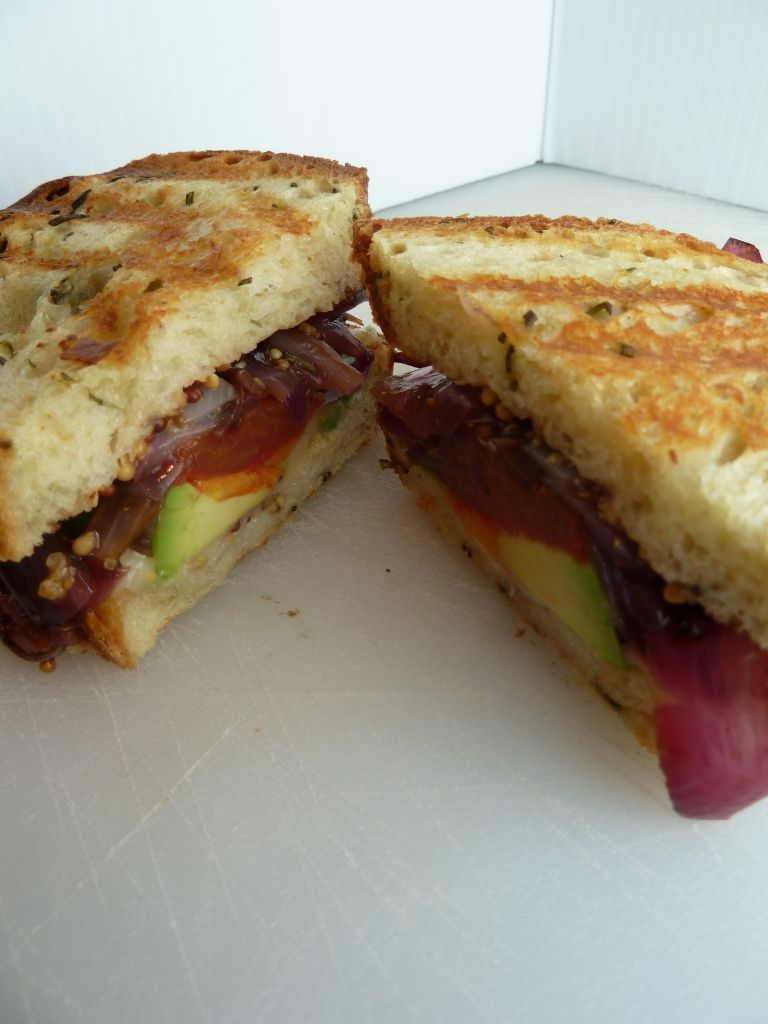 Brookie's Sheep Cheese Toasty with Grilled Tomato, Roasted Balsamic Onions and Avocado. (recipe is for tomatoes)