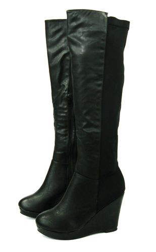 6bb8299d6f7 CALF STRETCH WOMANS WIDE LADIES KNEE HIGH WEDGE HEEL PLATFORM BLACK BIKER  BOOTS