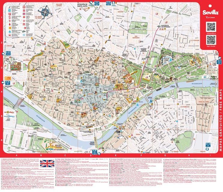 Large detailed tourist map of Seville Maps Pinterest Tourist