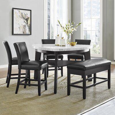 Wrought Studio Carrara 6 Piece Counter Height Pub Table Set
