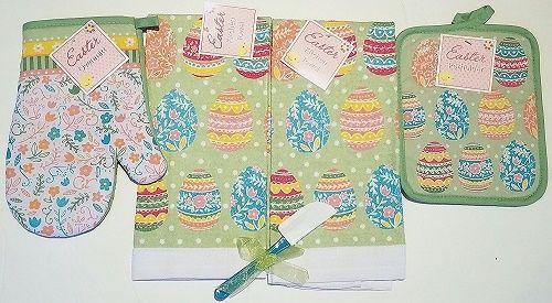 and Dish Towel with Oven Mitt Aqua Easter Kitchen Towels Set Potholder