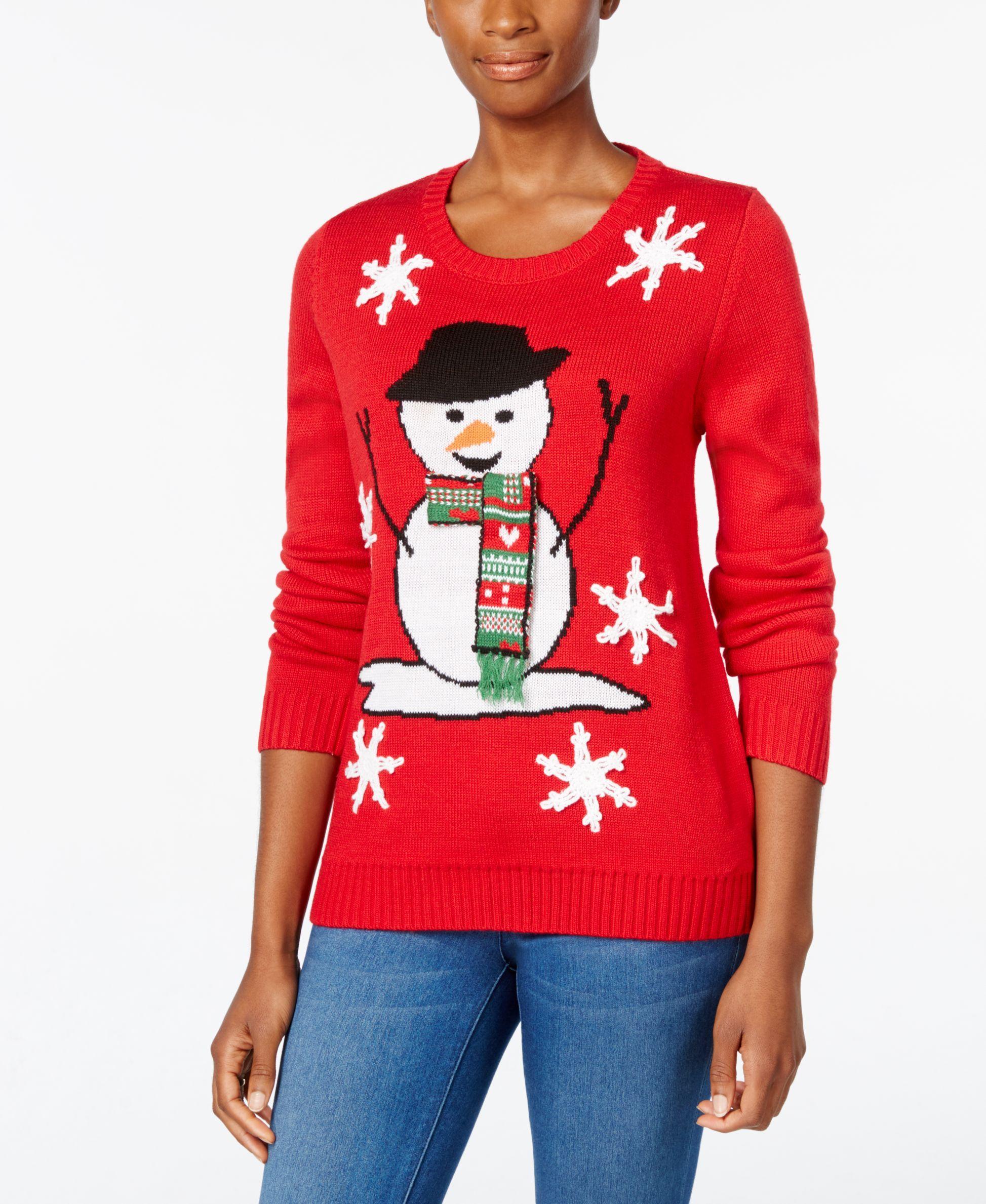 Macys Christmas Sweaters.Karen Scott Snowman Holiday Sweater Only At Macy S