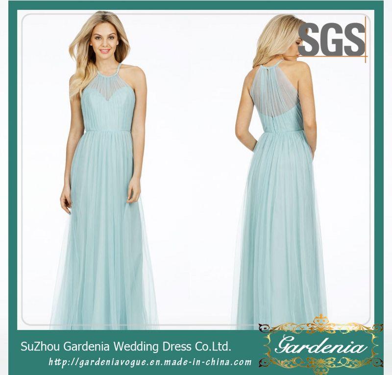 Sell Sky Blue A-Line Maids of Honor Dress SGS Halter Long Chiffon ...