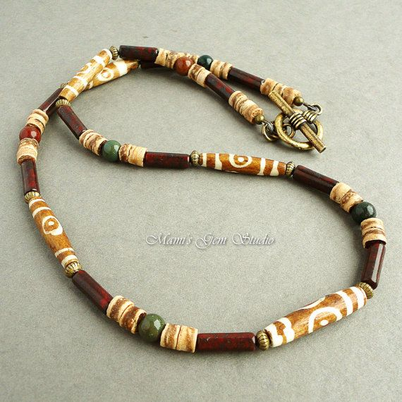 Mens Necklace Tribal Style Beaded Jewelry Bone Stone Coco Shell