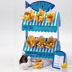Our super cute Fish and Chip Stand is perfect for a Beach Party, a Nautical Party or a summer party!