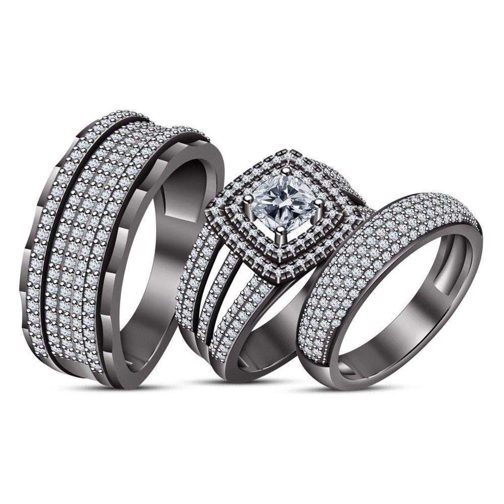 3 00ct Cushion Diamond 14k Black Gold Over Trio Wedding Band Engagement Ring Set Aonedesigns Diamond Wedding Band Sets Silver Engagement Rings Rings For Men