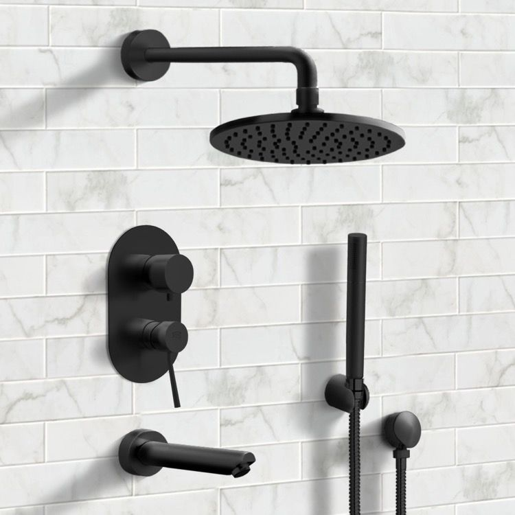 Matte Black Tub And Shower System With 8 Rain Shower Head And