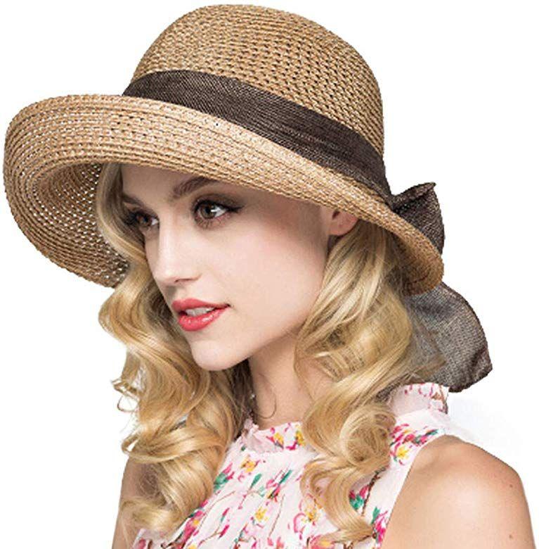 Cyiecw Women Floppy Sun Hat Summer Wide Brim Beach Cap Packable Cotton Straw Hat For Travel Light Brown Summer Hats Summer Hats For Women Womens Straw Hats