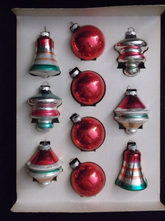 10 Rare 1940s Shiny Brite Glass Christmas Ornaments Shiny