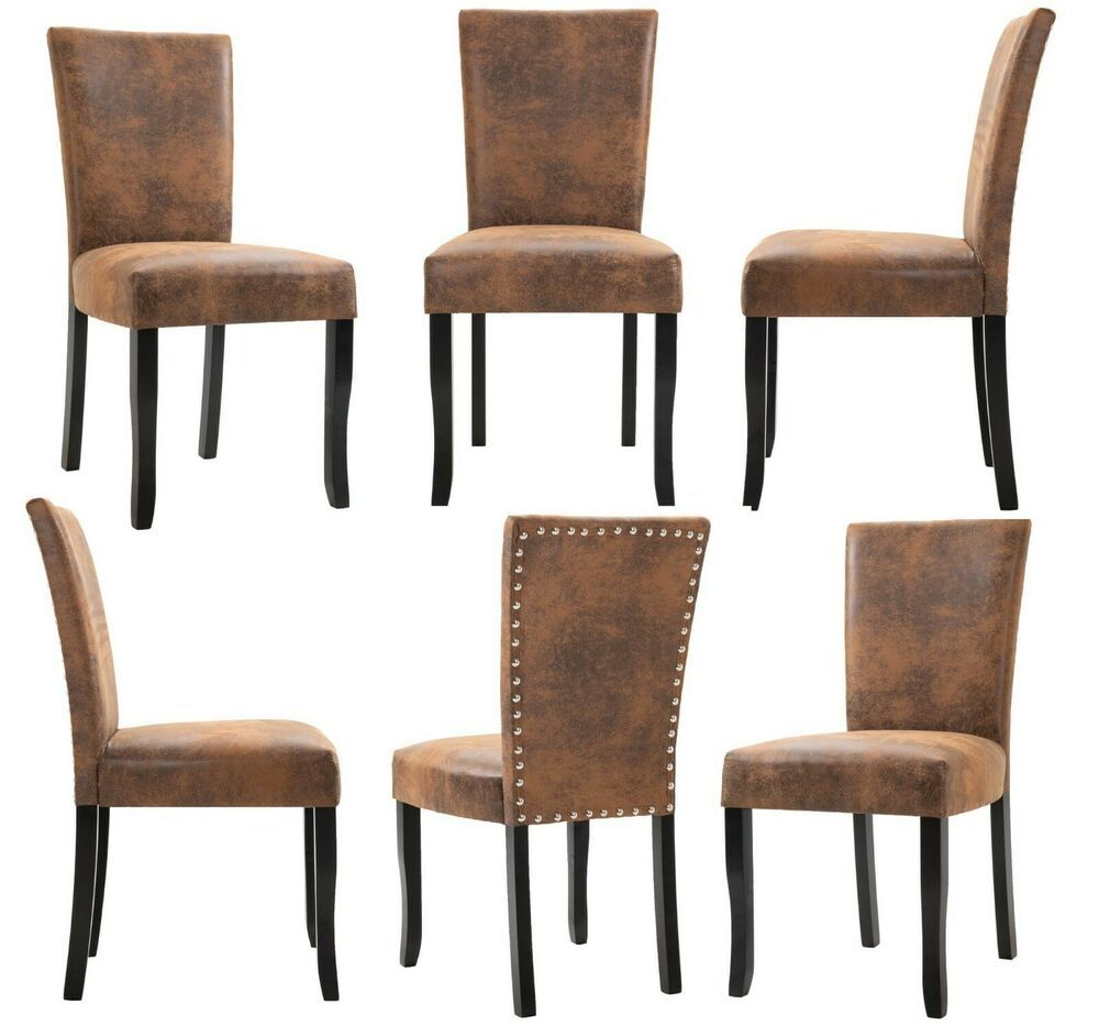 6pc Wood Dining Chairs Set Upholstered Faux Suede Leather ...