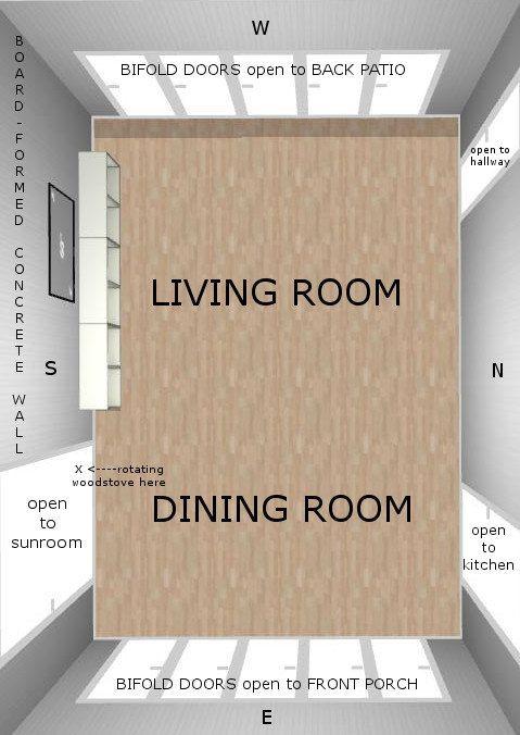 Breezeway Bi Folding Doors Kitchen Open Dining Room Concrete Tile Floor