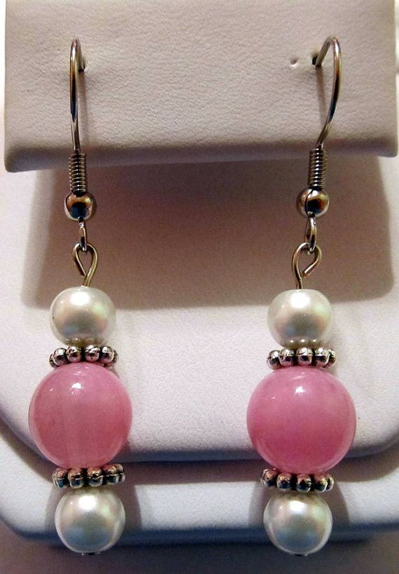 Pearls and Pink Beaded Handmade Earrings by CraftyChic90 on Etsy, $2.50