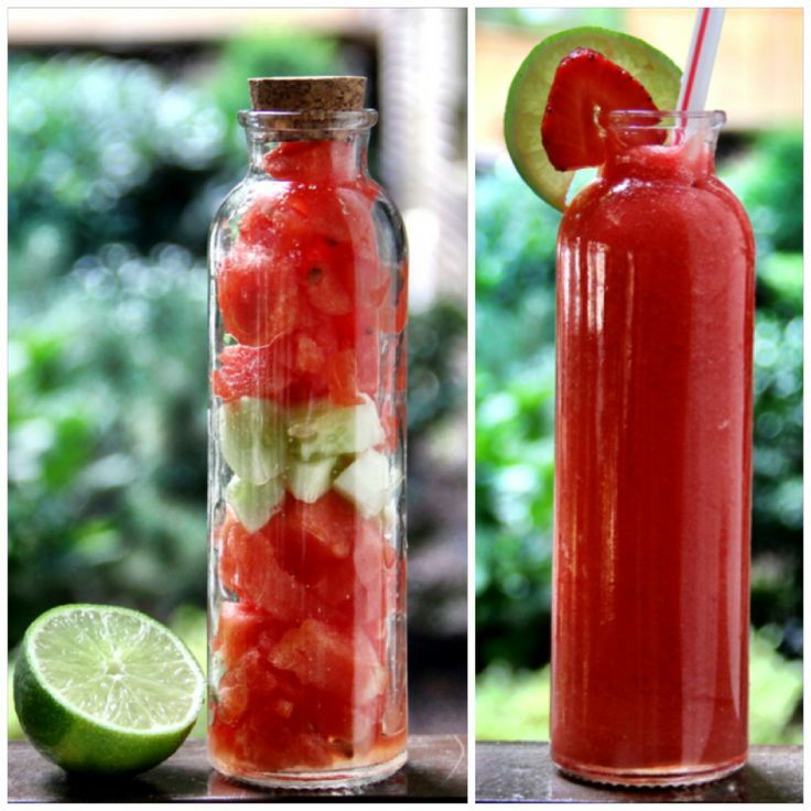 3 large scoops of watermelon  4 slices of cucumber  Juice from 1/2 a lime
