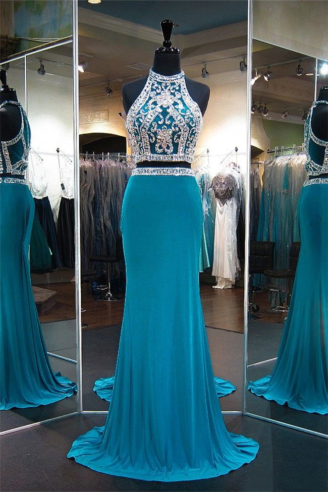 Sheath High Neck Two Piece Teal Jersey Beaded Prom Dress
