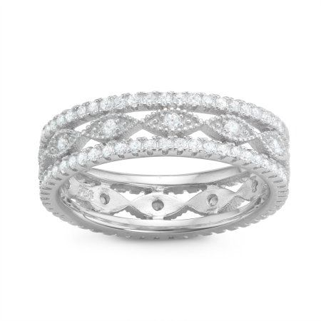 Diamonique Graduated Asymmetrical 14K Rose Clad Sterling Silver Ring Size 8 QVC