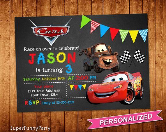 Invitación De Cars De Disney Coches Cumpleaños Por