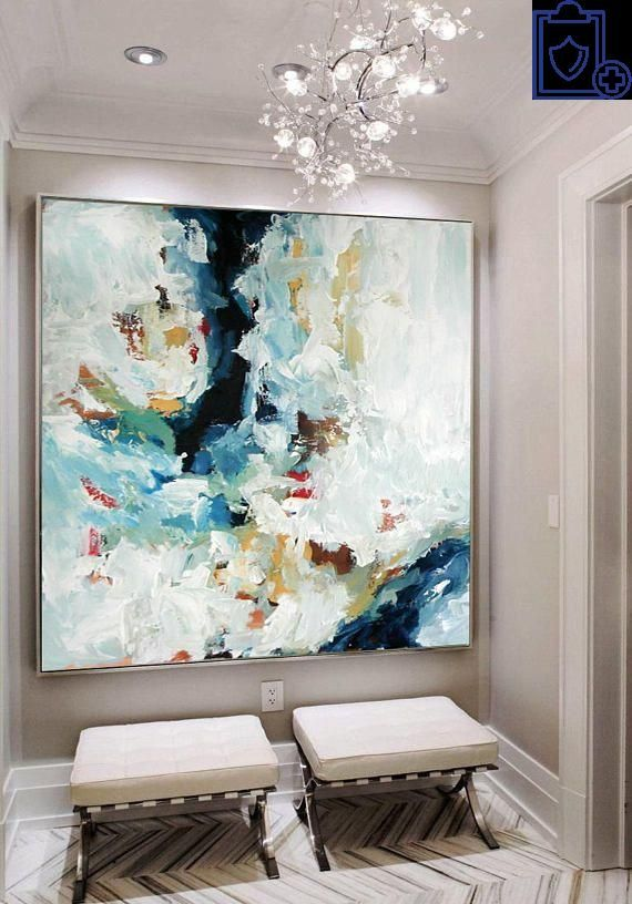 LARGE ORIGINAL Hand Painted Painting Abstract Art Acrylic Painting on Canvas XL large Canvas Art Custom Extra Large Painting Green Blue