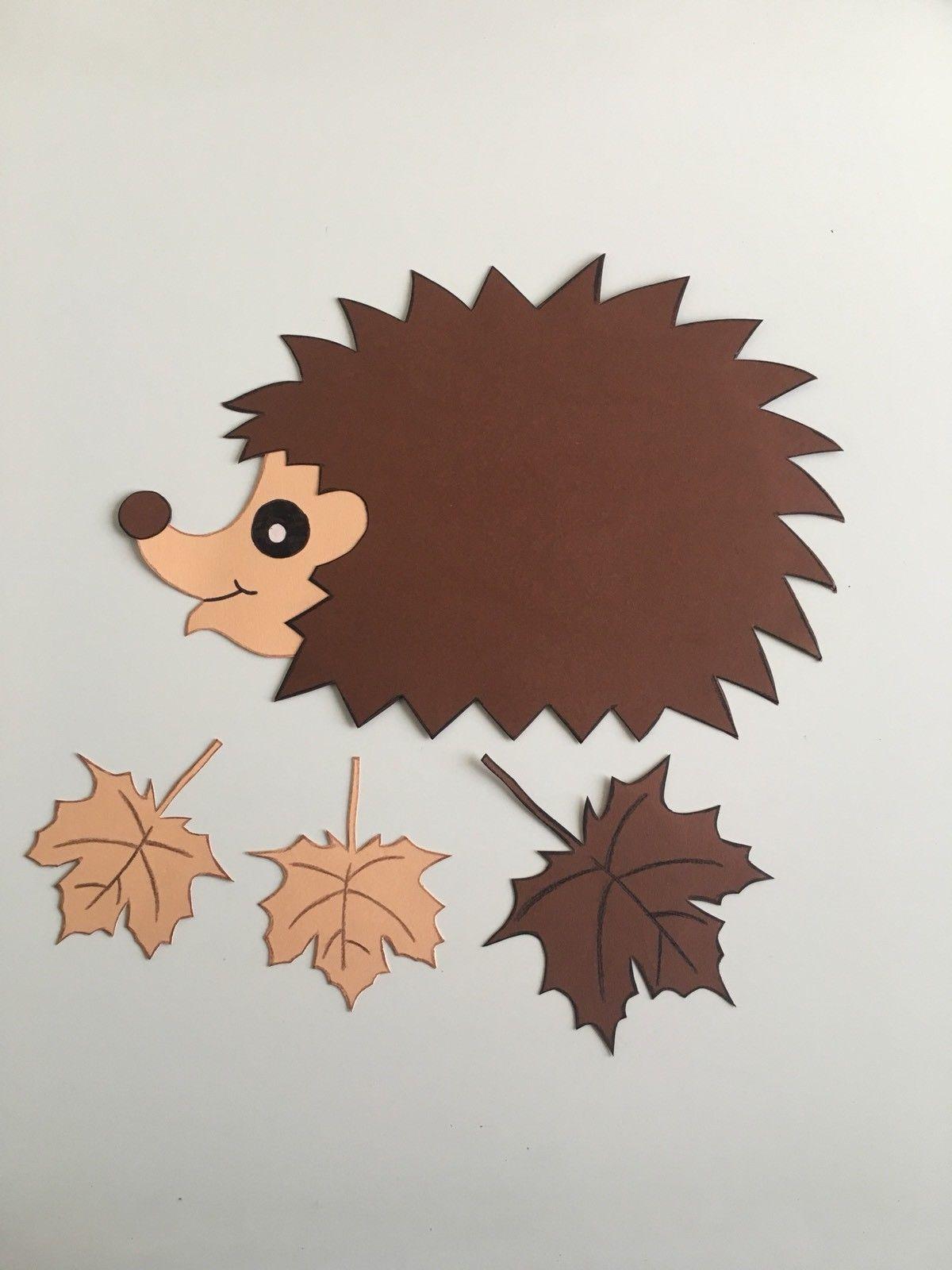 fensterbild tonkarton igel blätter herbst halloween
