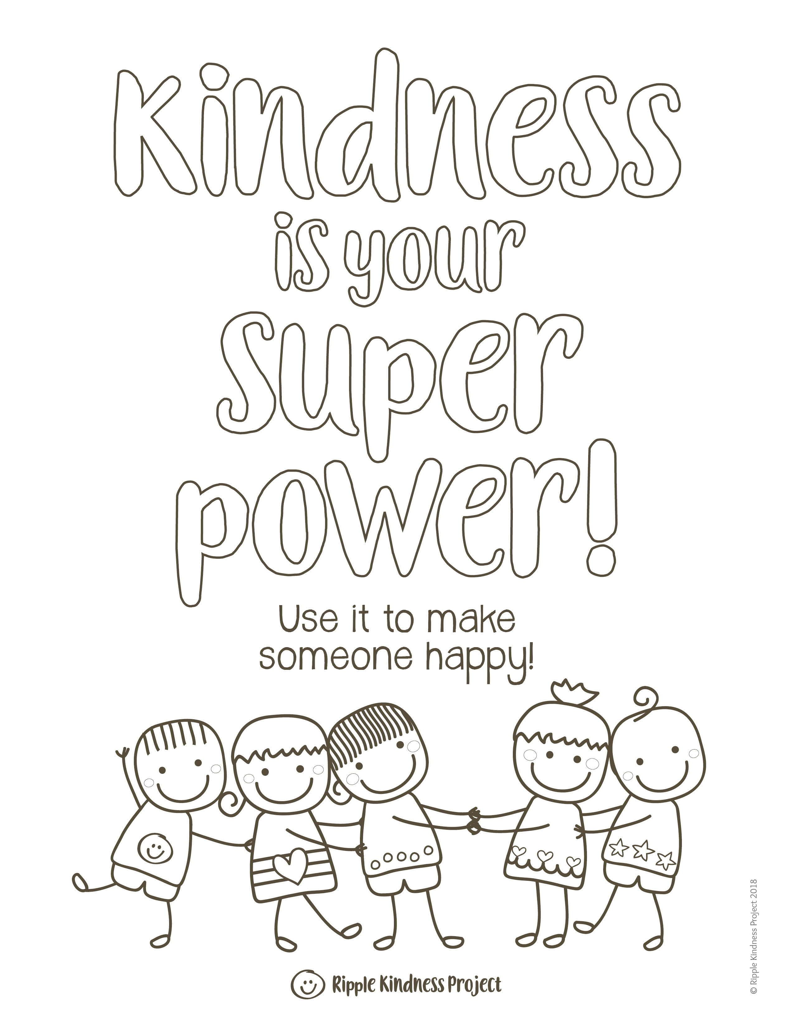 KINDNESS COLORING PAGES Kindness Activities or Kindness Bulletin