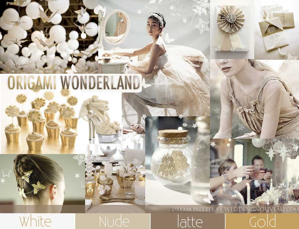 Origami white and gold dream palette inspiration board from weddingnouveau.com