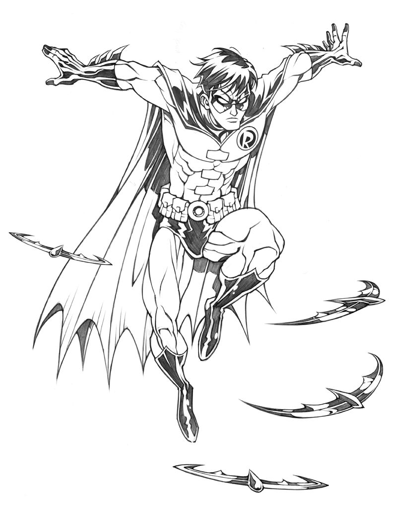 Comic book robin coloring pages ~ Robin   DC Heroes United   drawing   bw   ram2013   Heroes ...
