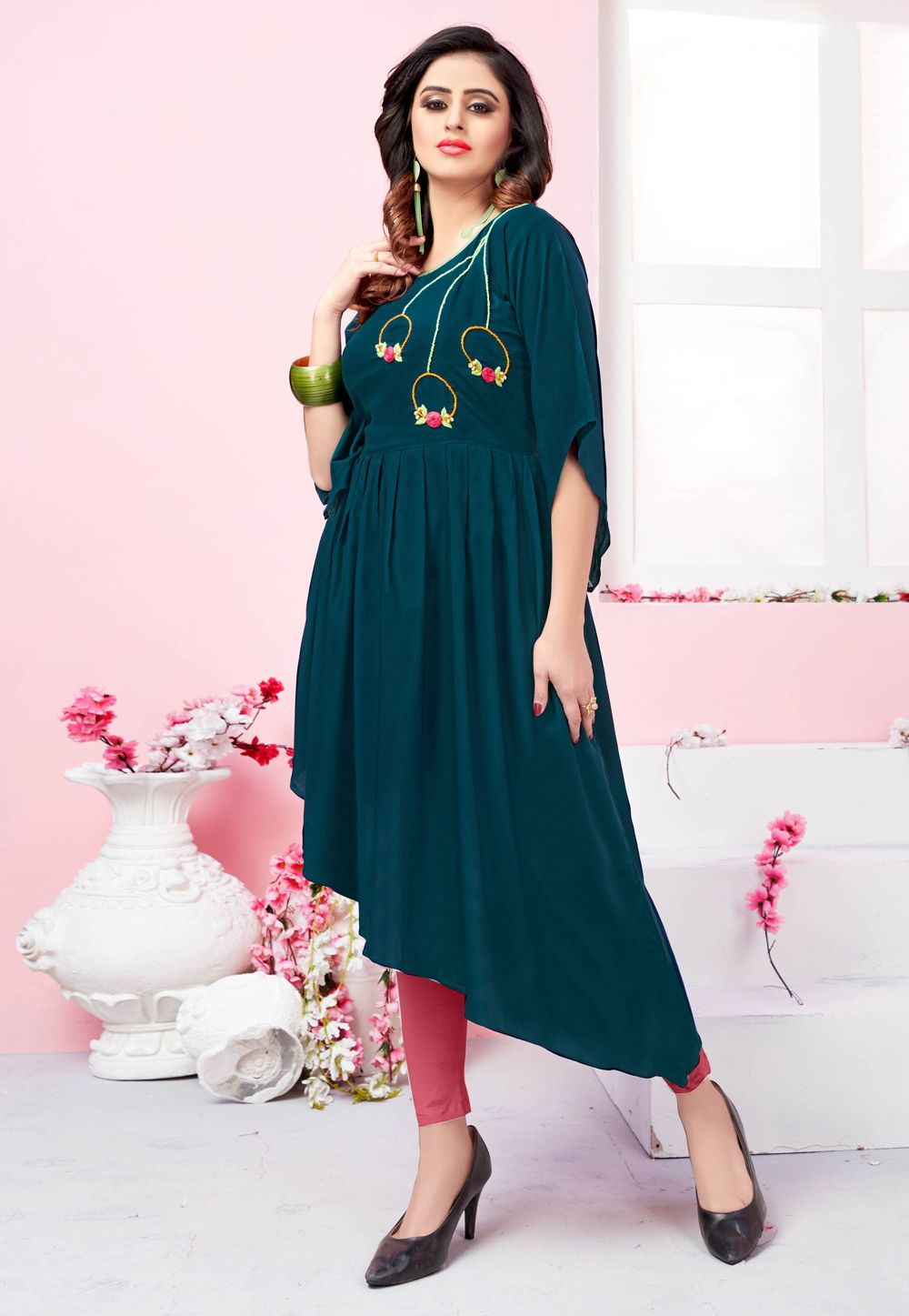 1b37435d8cb Shop Teal Blue Rayon Readymade Kurti 158722 online at best price from vast  collection of designer kurti at Indianclothstore.com.