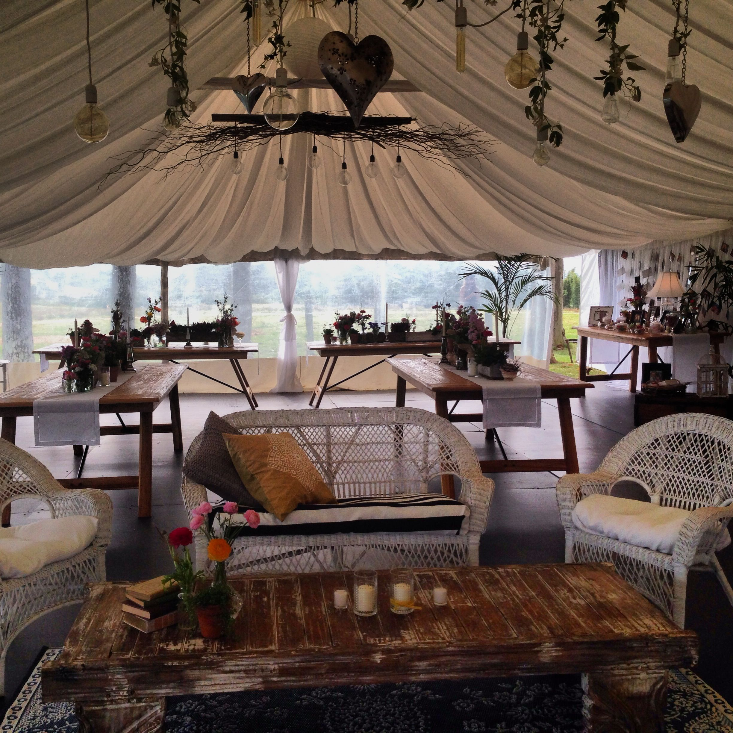 Gorgeous Rustic Marquee Set Up.