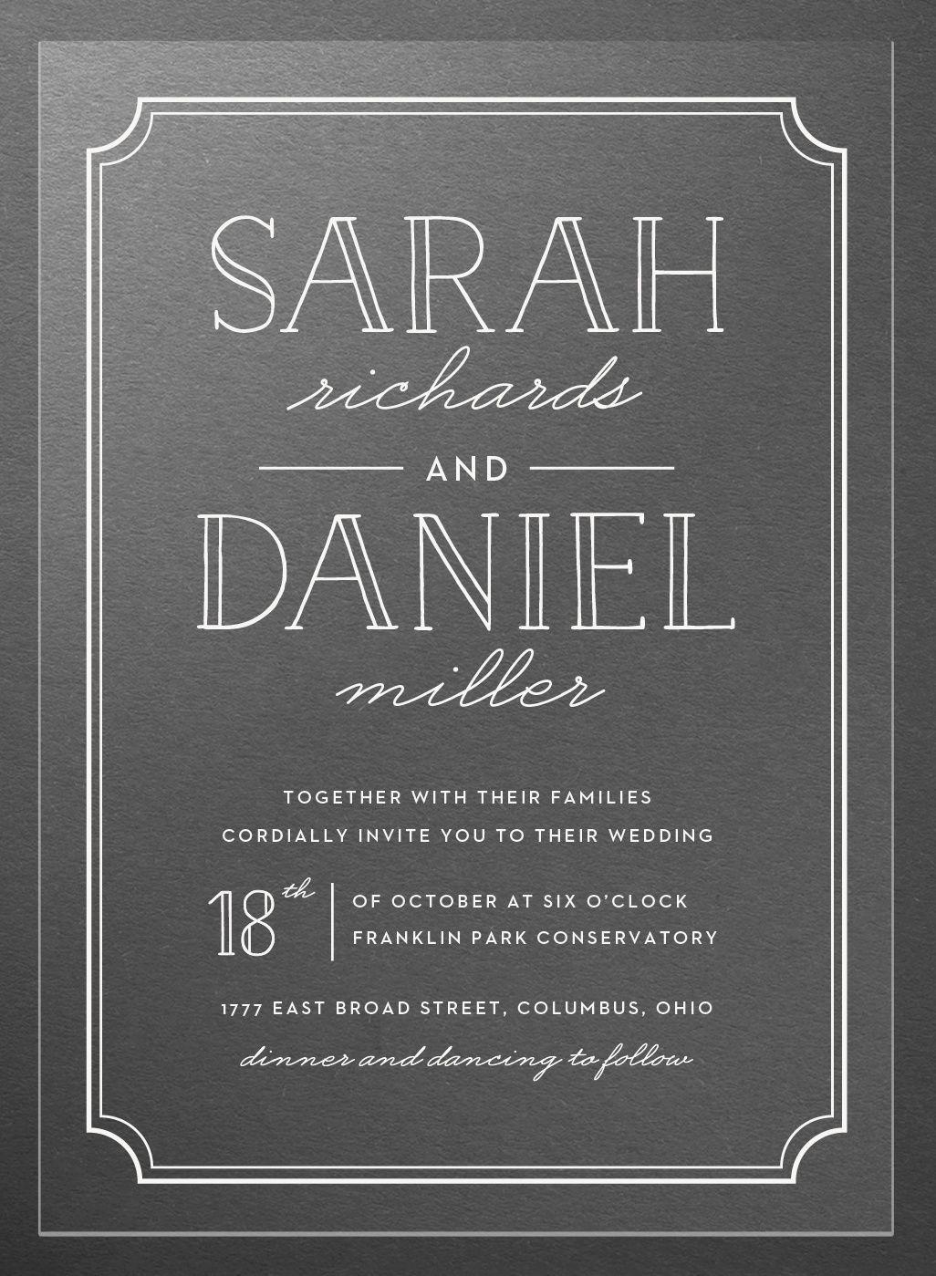 Type Frame Clear Wedding Invitations Clear wedding