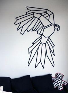Washi Tape Wall Art my parrot corner + masking tape #kutchetcouture #wall #washi. an